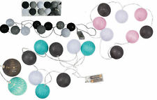 10er LED Lichterkette Kugeln Stoff Cotton Ball Baumwollkugel warm weiß Batterie