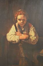"Vintage ESTATE FIND Quality ""Rembrandt"", ""Girl With A Broom"" Reproduction Oil/C"