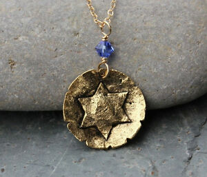 Ancient Star of David gold charm necklace w/ Sapphire or Birthstone crystal