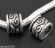 20PCS Tibetan Silver Pattern Design Big Hole Spacer Beads Fit Charms Bracelet
