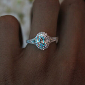 Vintage 925 Sliver Oval Moissanite Wedding Topaz Ring Gemstone Wholesale Sz 6-10