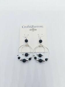 New Croft & Barrow Earrings women's Round Hoop - Black/Silver Beads Pierced Ears