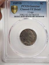 New listing 1937-D Buffalo Nickel 3 Legs Pcgs Genuine Cleaned Vf Detail # 6533