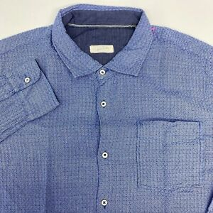 Arnold Zimberg Button Up Shirt Men's Large Long Sleeve Blue Cotton Casual