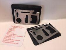 set of 2 11-in-1 Multi Tool Credit Card Wallet Knife Pocket Survival Camping