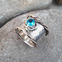 Blue Topaz Solid 925 Sterling Silver Band Ring Meditation Statement Ring M437