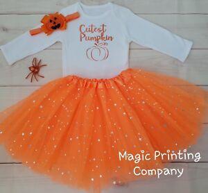 Baby Girls Pumpkin outfit Costume 1st Halloween Tutu Gift Bodysuit VEST Top UK