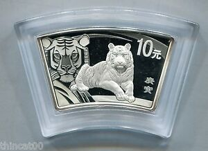 China 2010 Tiger Fan-shaped 1oz Silver Coin