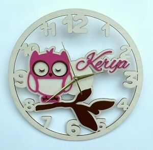 Owl Name Personalized Wall Clock Gift Silent Non-Ticking Ply Wood Pink Blue