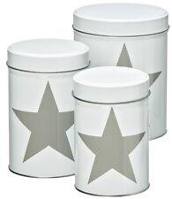 Metall Vorratsdose weiß mit grauem Stern 3er-Set Blechdose Gebäckdose Keksdose