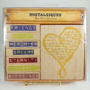 """NOSTALGIQUES The Attic Collection """"Words From the Heart"""" Rubber Stamp Set"""