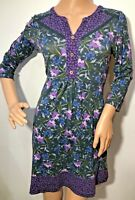 Joe Browns pretty floral v neck long sleeve jersey dress size 10 purple grey