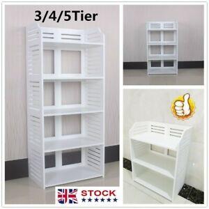 3/4/5 xTiers Corner Shelf Unit Storage Bookcase Display Stand Shoe Rack Bathroom