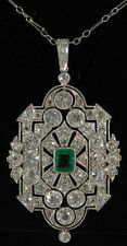 Cocktail Party Solid 925 Sterling Silver Green Cushion Vintage Pendant Jewelry*