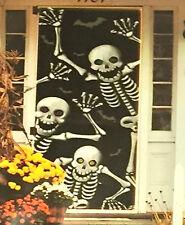Halloween Door Decor Cover Spooky Skeletons Green & Yellow Eyes New In Package