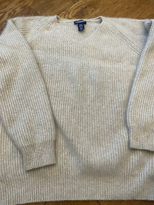 Sweater Large Lands End Pullover Turtleneck Tan Beige Striped  Cotton Nylon Wool Blend Long Sleeve Vintage Apparel