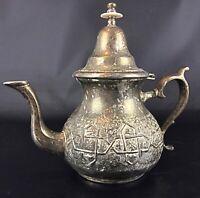Ancienne théière en métal argenté riche en décors - Maghreb