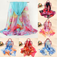 Ladies Women Flower Print Floral Long Soft Wrap Scarf Chiffon Silk Shawl Scarves
