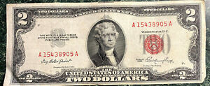 $2 Dollar RED seal 1953 Series Silver Certificates Circulated Condition
