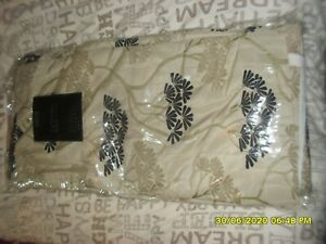 BNWT Dunelm lined curtains & tie backs black / beige 90 x 72 pencil pleat.