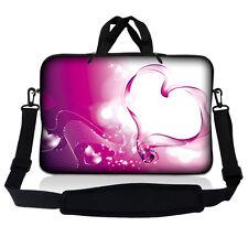 """13.3"""" 13 Laptop Sleeve Bag w Shoulder Strap Chromebook Macbook Pink Heart SP08"""