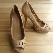 BCBG High Heel Pumps, EUR 40 Nude Cut Out Neutral Beige Leather Peep Toe - EUC