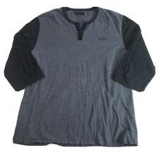 Krew Mens Baseball T Shirt Size XL Gray Black 3/4 Sleeve 3 Buttons