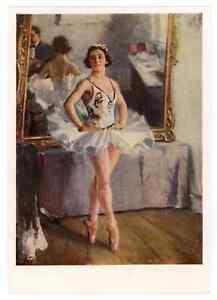 1939 Portrait Ballerina Lepeshinskaya by Gerasimov Ballet Russian vtg Postcard