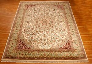 Indien Hand Knotted 9x12 ft Green Area Rugs Oriental Classic Hotel Office Carpet