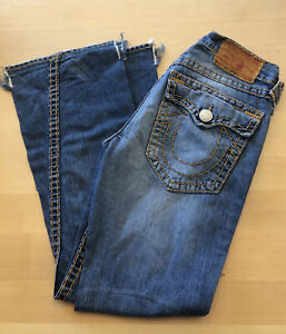 "Men's True Religion Denim Jeans Joey Super T Seat 34 x Inseam 32"" Distressed"