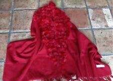 NEU*LUXUS*STOLA PASHIMA SCHAL scarf Cashmere Kaschmir Rot Kaninchen Fell*200x70*