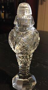 Vnt Footed Pedestal Cut Lead Crystal Hand Cut  Salt or Pepper Shaker*