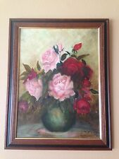 "16"" x 12"" ORIGINAL PAINTING OIL IN BOARD CANVAS FLORAL W/FRAMED 19""x15"" SIGNED."
