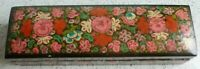 Vintage TRINKET BOX:  Handmade and Hand Painted: Kashmir, India: Floral: Rectang