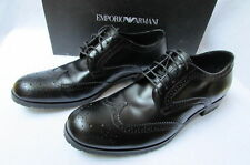 New Emporio Armni Black Leather Classic Suit Fashion Work Attire Shoes Size 8