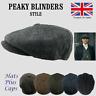 Peaky Blinders Hat Newsboy Flat Cap Herringbone Tweed Wool Baker Boy UK Stock