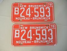 VINTAGE 1978  NEW BRUNSWICK CANADA - PAIR   LICENSE PLATES  B24-593 - BILLINGUAL