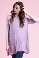 USA NEW Womens 3/4 Sleeve Tunic Top Dress Round Neck Blouse S M L Plus 1X 2X 3X