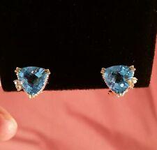 14K YG Trillion Cut Checkerboard Top Swiss Blue Topaz Diamond Accents Omega ER's