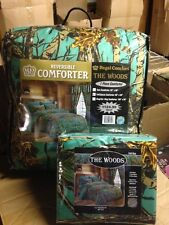 7 PC SEAFOAM GREEN CAMO COMFORTER AND SHEET SET FULL CAMOUFLAGE WOODS