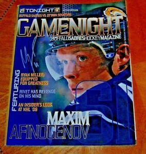 Buffalo Sabres Hockey GAME NIGHT Program Maxim Afinogenov AUTOGRAPHED 08 Season