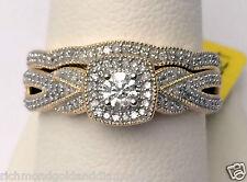Yellow Gold Halo Antiqe Vintage Style Round Diamond Wedding Bridal Set Ring Band
