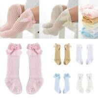 Toddler Baby Kid Infant Knee High Long Socks Bow Cotton Casual Stockings 0-3 Y