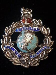 "GIBRALTAR ROYAL MARINES ""Per Mare Per Terram"" Enamelled Silver Pin Badge"