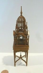 BESPAQ DOLLHOUSE MINIATURE BIRDCAGE WITH BIRDS INSIDE ON DISPLAY TABLE