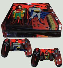 PS4 Slim Piel Batman y Robin Animado Gotham + Almohadilla calcomanías de vinilo nuevo endecha plana
