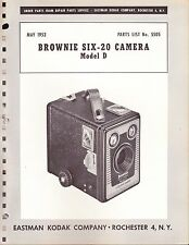 KODAK EXPLODED DIAGRAM & PARTS LIST: BROWNIE SIX-20 MODEL D - 1953