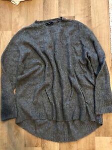 ZARA Oversize Pullover Strickpulli Grau Gr. L Damen Top Only Longpulli
