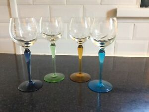 4 x Vintage Tall Stem Coloured Wine Glasses With Etched Glass