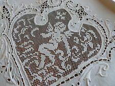"""12 Amazing Antique Linen Figural Filet Lace Cherub Cutwork Embroid Napkins 23"""""""